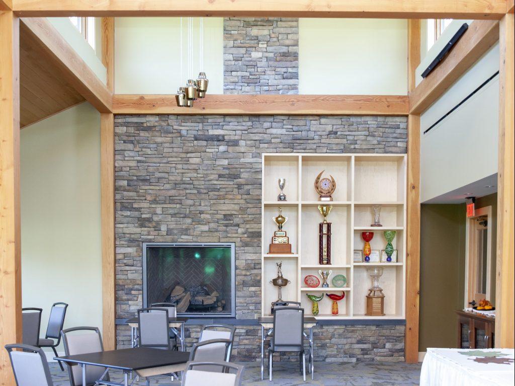 Veneer fireplace cubbies