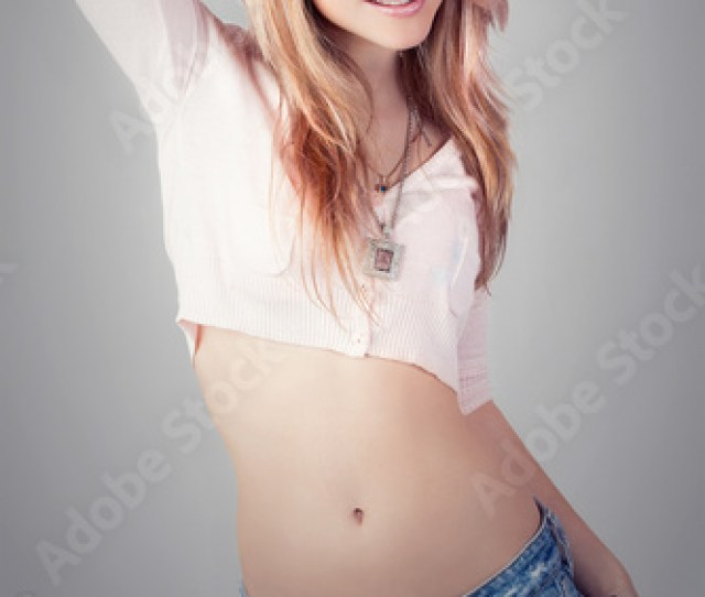 Glamorous Young Sexy Girl On Grey Background