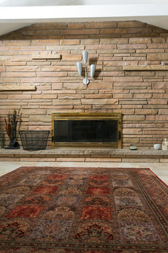 https stock adobe com images masonry wall and brass fireplace in living room 79195498 start checkout 1 content id 79195498