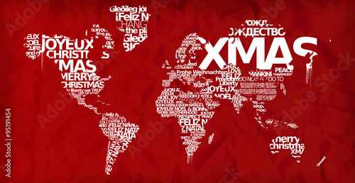Merry Christmas World Map Xmas Globe Red Greetings