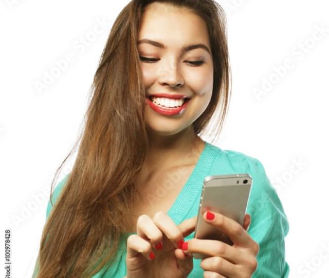 Pretty Teen Girl Taking Selfies