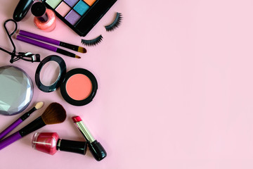 Search photos  make up  make up with cosmetics and brushes isolated on pink background