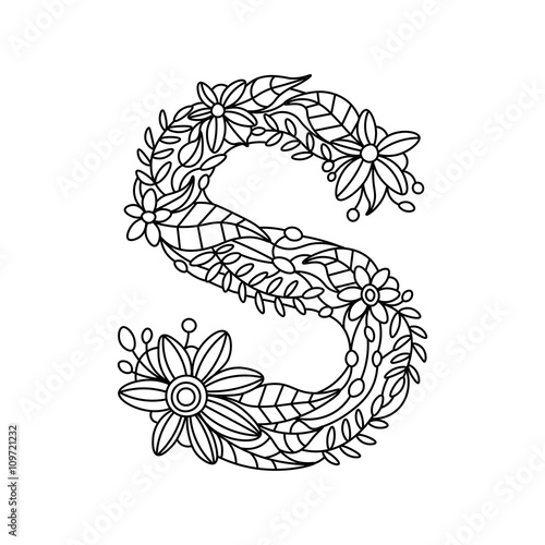 """""""letter s coloring book for adults vector"""" stock image and"""