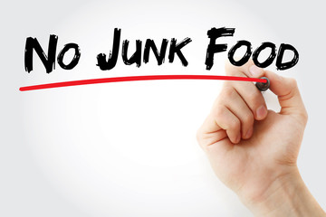 Hand writing No Junk Food with marker, health concept background