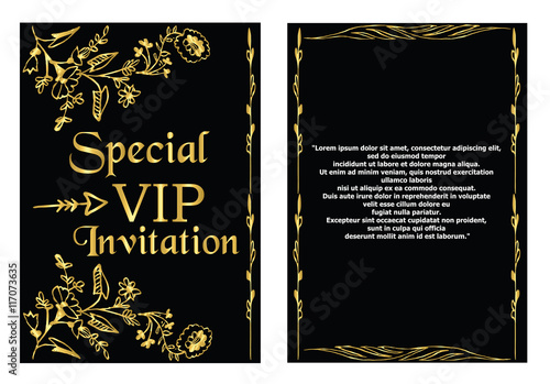 A Golden Invitation Card That Can Be Used For VIP Or