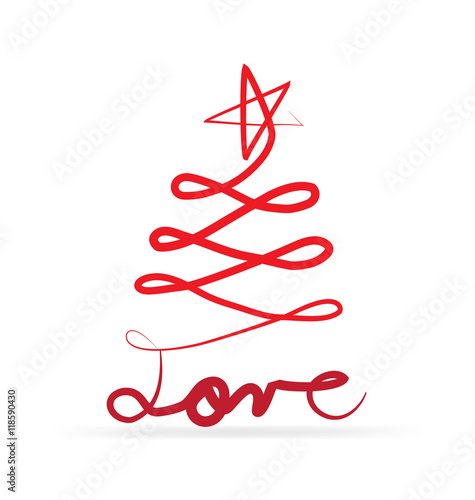 """Download """"Christmas tree love vector card"""" Stock image and royalty ..."""