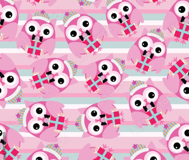 Seamless Background Of Christmas Illustration With Cute Pink Owl On Stripes Background Suitable For Wallpaper