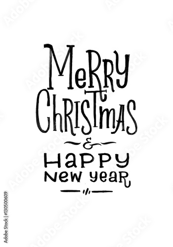 Merry Christmas Happy New Year Retro Vector Poster Black