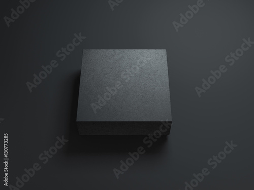 "Download ""Square Black Box Mockup on dark background. 3d rendering ..."