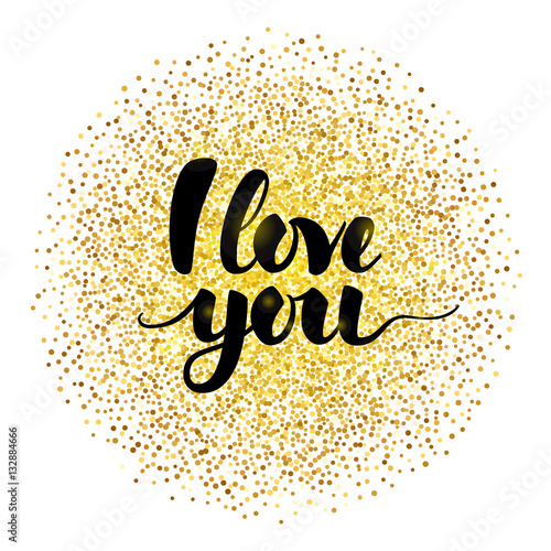 """Download """"I Love You Lettering with Gold"""" Stock image and royalty ..."""