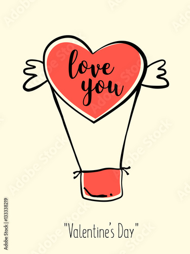 Valentines Day Card In Retro Style Hand Drawn Balloon