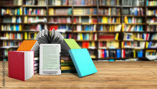 """""""E-book Reader Books And Tablet Library Background 3d"""