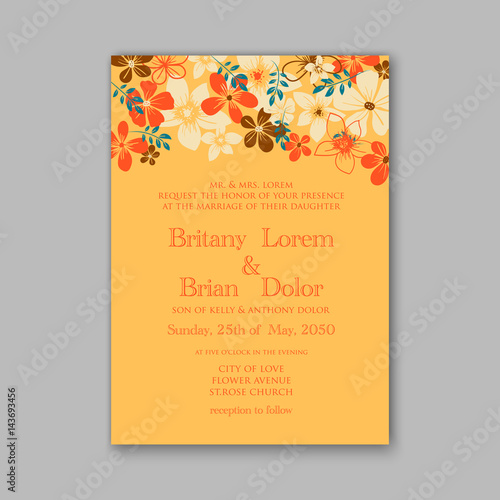 Peony Wedding Invitation Floral Bridal Wreath