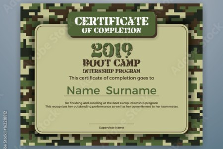 Boot Camp Internship Program Certificate Template Design with     Boot Camp Internship Program Certificate Template Design with Camouflage  Background for Print  Vector illustration