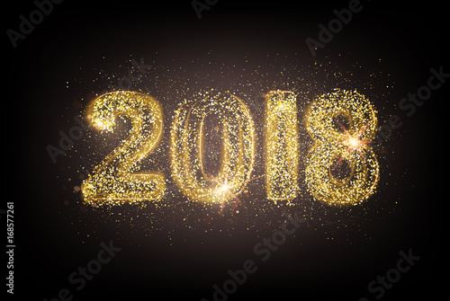 Happy new year card template over dark background with golden sparks     Happy new year card template over dark background with golden sparks  Happy new  year 2018