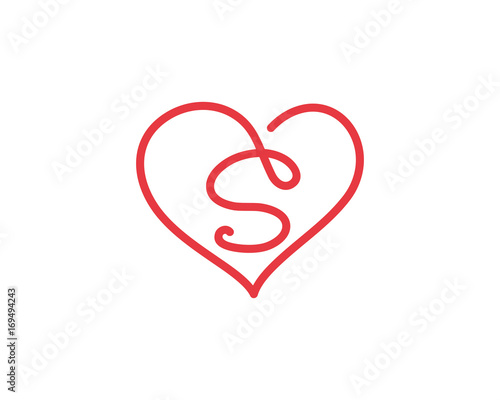 Letter S And Heart Logo 1 Stock Image And Royalty Free