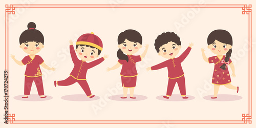 Cute Chinese Kids Boy Girl Costume Set  Chinese New Year Cartoon     Cute Chinese Kids Boy Girl Costume Set  Chinese New Year Cartoon Vector  Illustration with Frame
