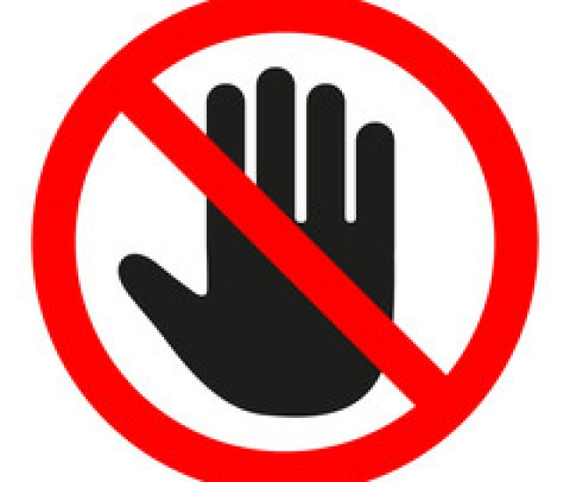Stop Sign No Entry Black Arm In A Red Crossed Circle Stop Hand