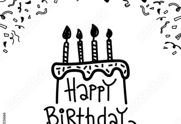 Doodle Happy Birthday Cake With Decoration Ribbon Sketch Art Stock
