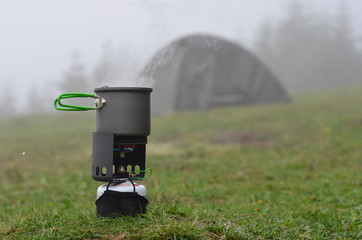 Pot on a backpacking stove