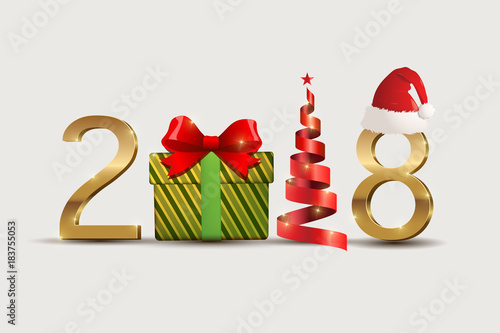 2018 new year symbol and christmas celebration with decorate     2018 new year symbol and christmas celebration with decorate isolated on  white background