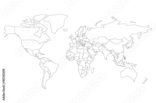 Political map of World  Blank map for school quiz  Simplified black     Political map of World  Blank map for school quiz  Simplified black thin  outline on