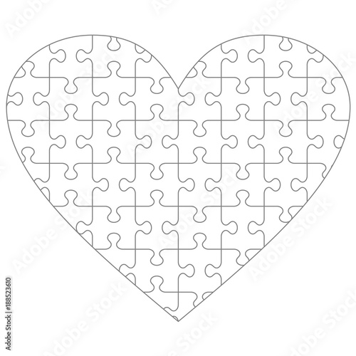 Heart Shaped Jigsaw Puzzle Blank Template With Classic