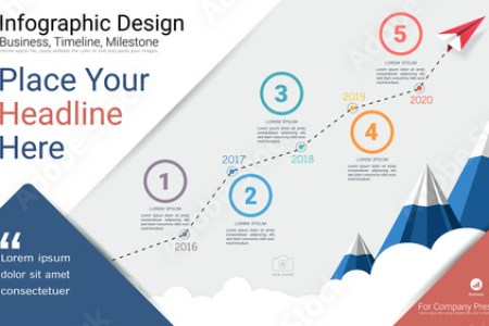 Business infographics template  Milestone timeline or Road map with     Business infographics template  Milestone timeline or Road map with Process  flowchart 5 options  Strategic
