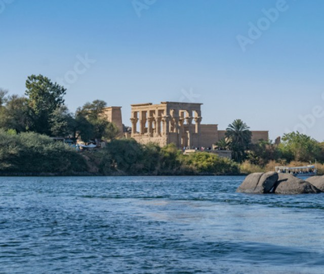 Philae Temple And Island In The Reservoir Of The Aswan Low Dam Downstream Of The