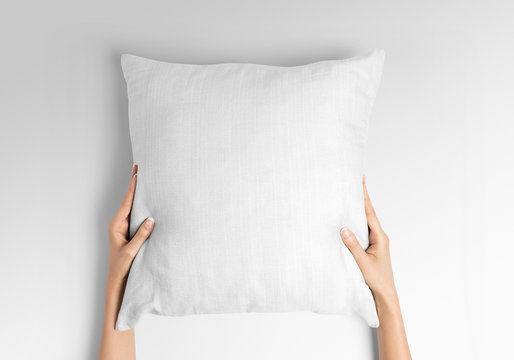 https stock adobe com images white blank square pillow mockup woman holding with two hands on isolated background 320416893 start checkout 1 content id 320416893