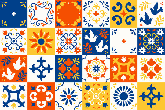 https stock adobe com images mexican talavera pattern ceramic tiles with flower leaves and bird ornaments in traditional majolica style from puebla mexico floral mosaic in classic blue and white folk art design 329305250 start checkout 1 content id 329305250