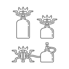 line draw of using camping stove interchangeably