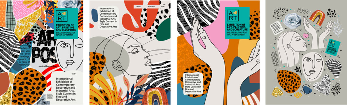 https stock adobe com images abstract art posters for an art exhibition music literature or painting vector illustrations of shapes portraits of people hands spots and textures for backgrounds 366639415 start checkout 1 content id 366639415