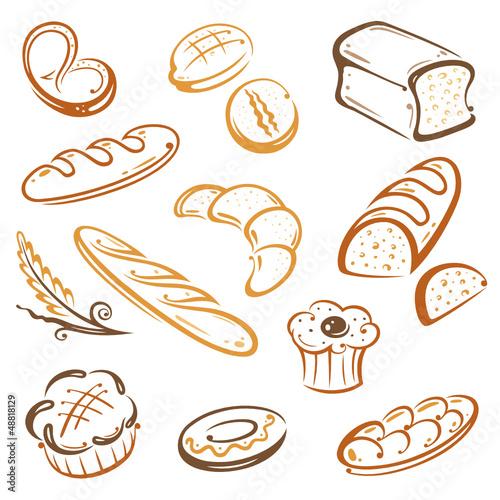 Backwaren, Bäcker, Bäckerei, Brot, vector set Diseño de
