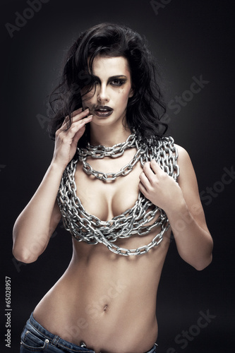 Naked Girl With Chain