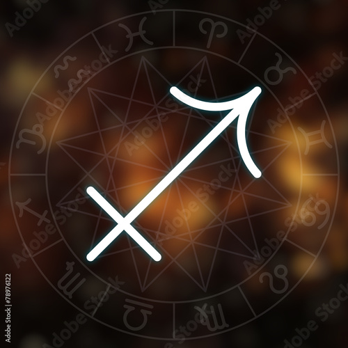 Zodiac sign - Sagittarius. White thin line astrological symbol