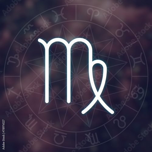 Zodiac sign - Virgo. White thin simple line astrological symbol