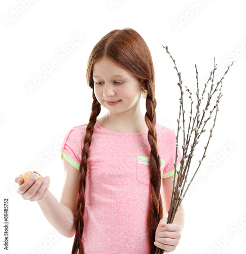 Beautiful Little Girl With Pussy Willow Branches Isolated