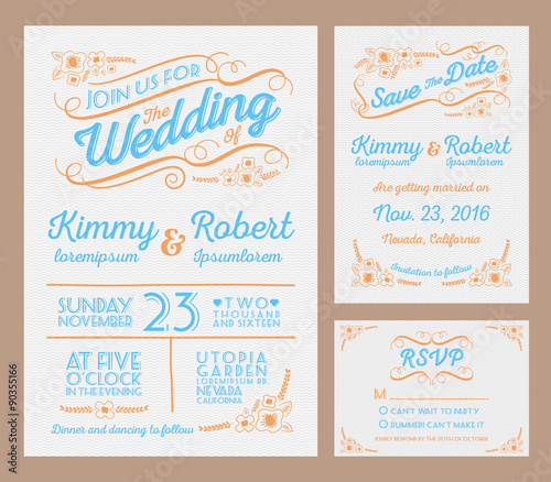 Letterpress Wedding Invitation Collection Package Include The Save Date Rsvp Card