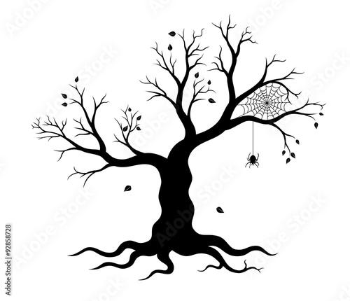 Halloween Tree And Spider Web Vector Illustration