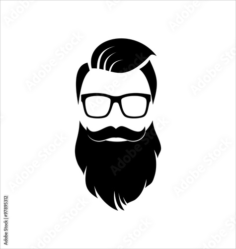Hipster Black On White Background Hairstyle Stock Image