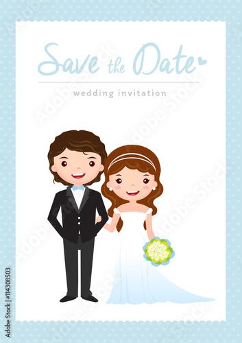 Wedding Invitation Card Groom And Bride Cartoon Template Design Vector Ilration