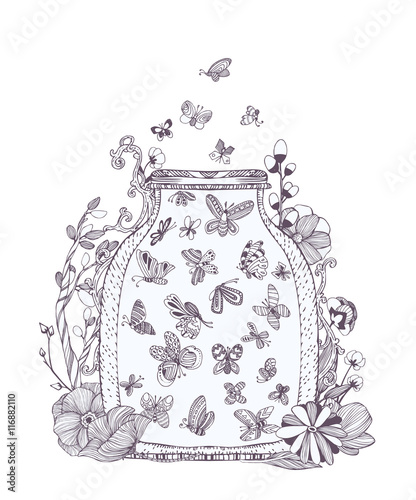 """""""black and white set of cute butterflies in bug flowers"""