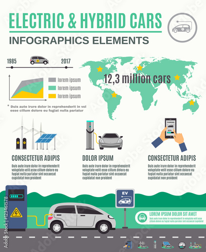 Electric And Hybrid Cars Infographic Poster Stock Image