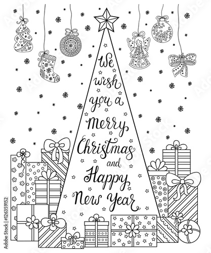 Doodle Pattern Lettering We Wish You A Merry Christmas