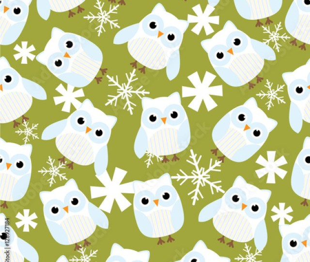 Seamless Background Of Christmas Illustration With Cute Winter Owls On Green Background Suitable For Kid Xmas