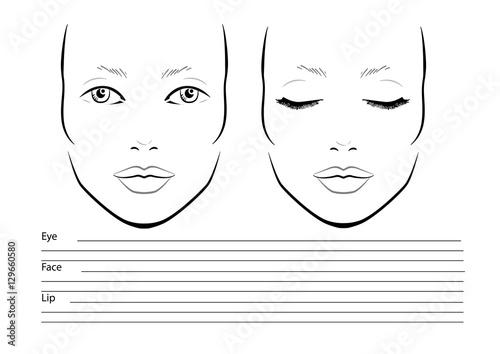 Face Chart Makeup Artist Blank Template Vector Ilration