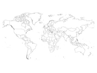 Search photos  map outline  World map with country borders  thin black outline on white background   Simple high detail