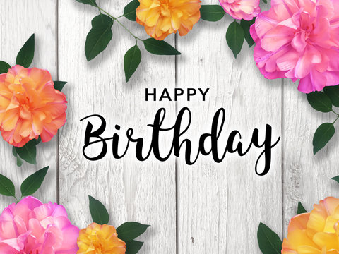 Happy Birthday Card With Colorful Flower Border Stock Foto Adobe Stock