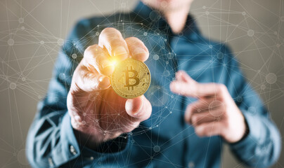 Bitcoin Trader - Trading Bitcoin Cryptocurrency Conceptual Finance Concept